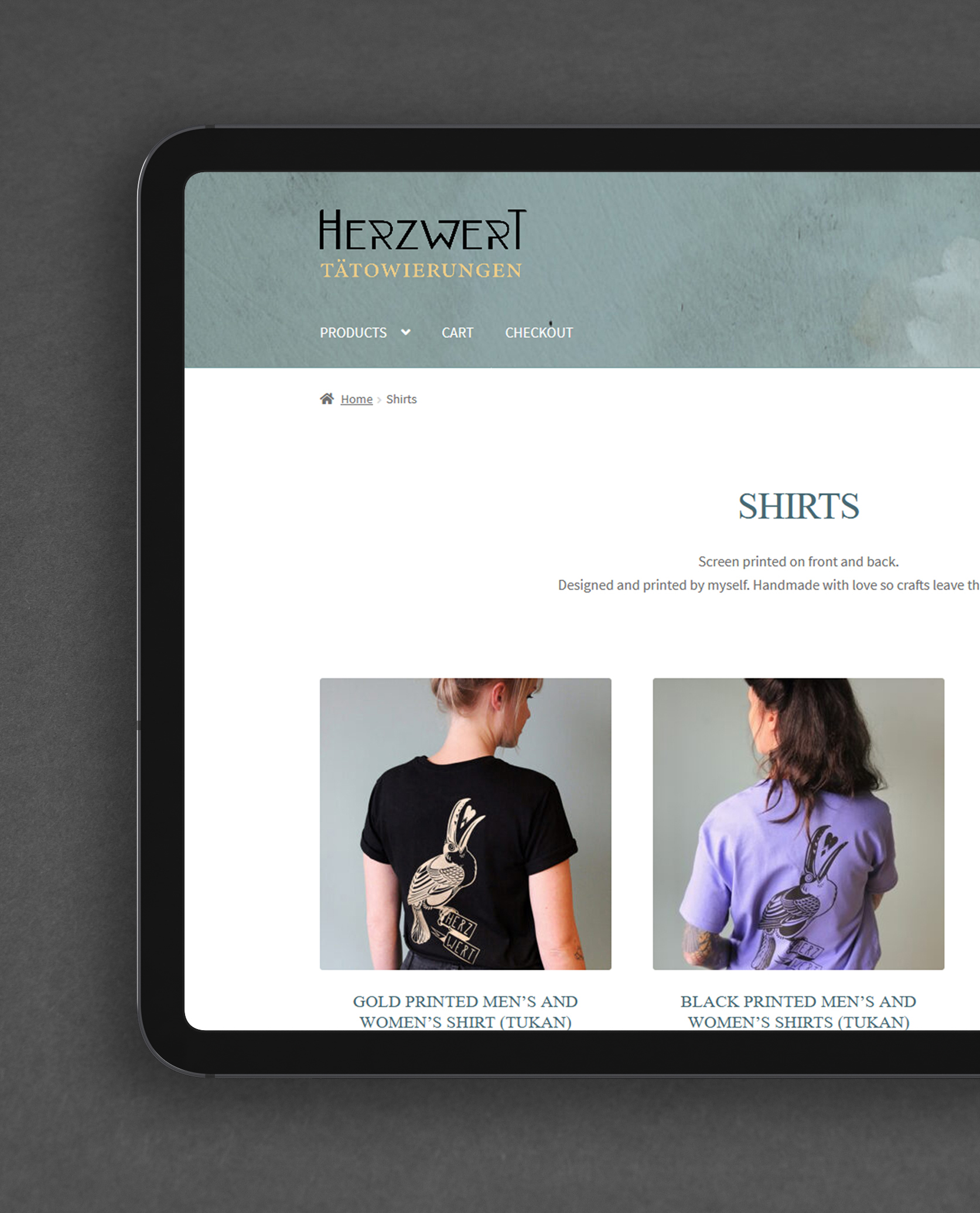 Herzwert Tätowierungen E-Commerce Shop Design
