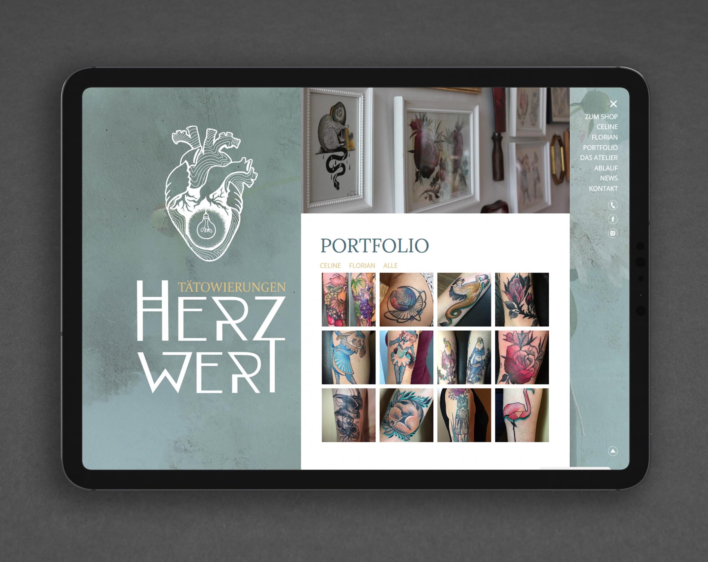 Webdesign Herzwert Tätowierungen Aachen