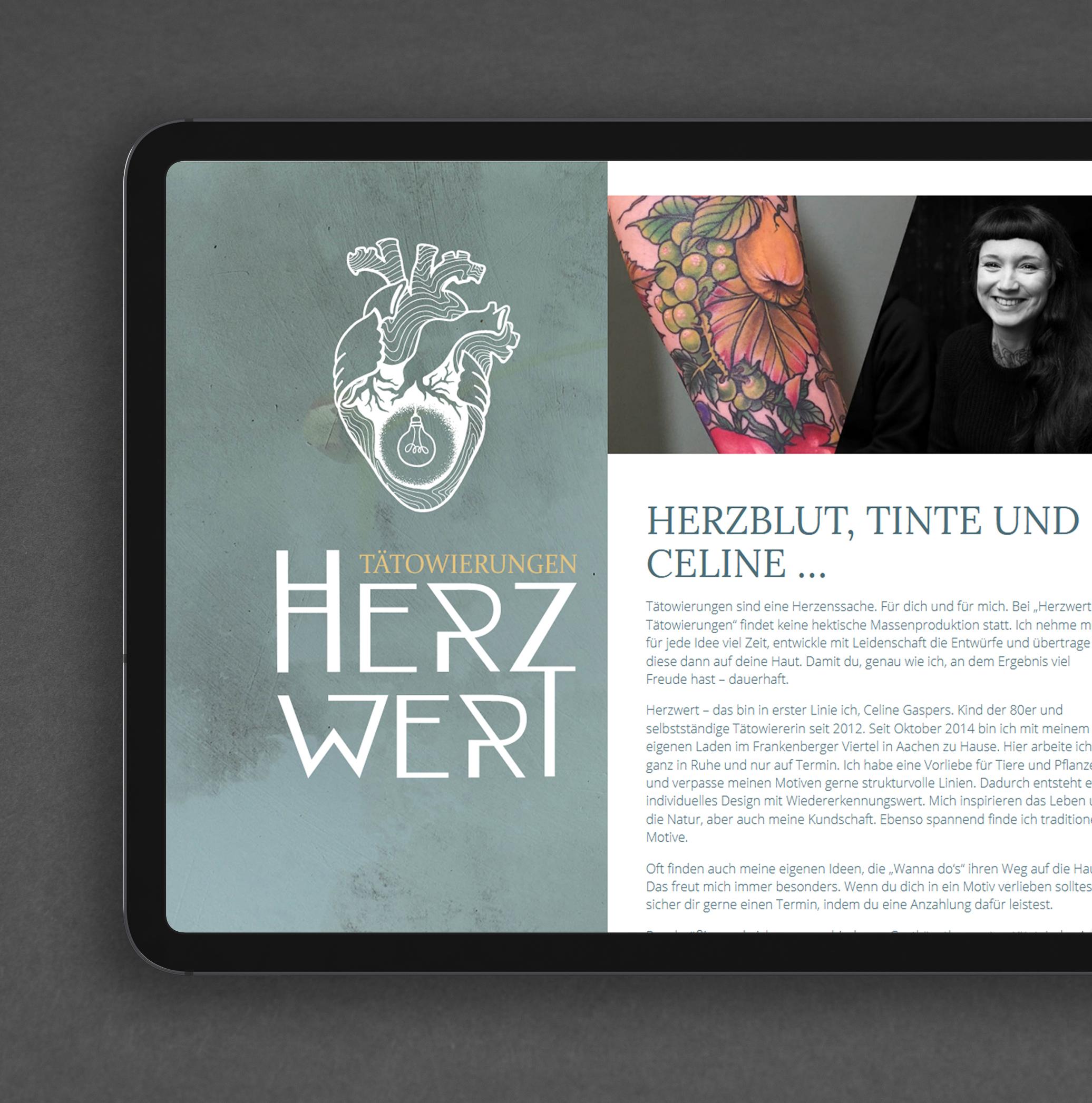 Herzwert Webdesign aud dem iPad