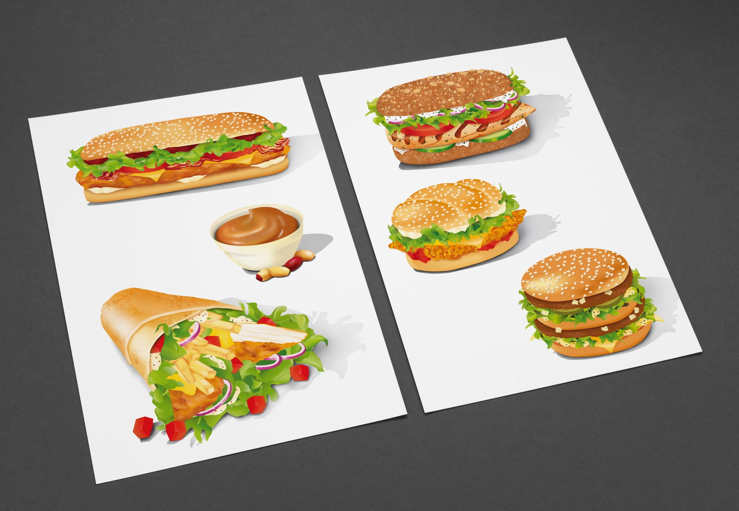Illustration mehrerer Burger
