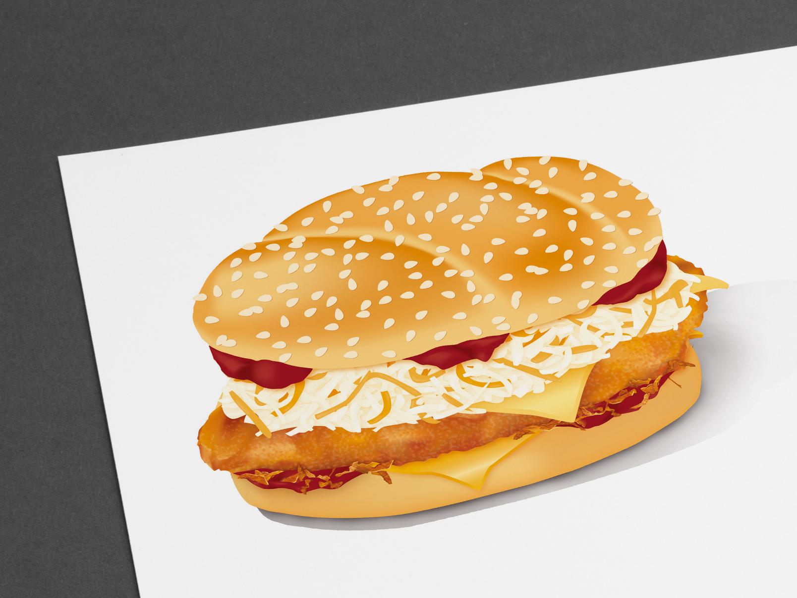 Foodillustration Burger mit Schnitzel