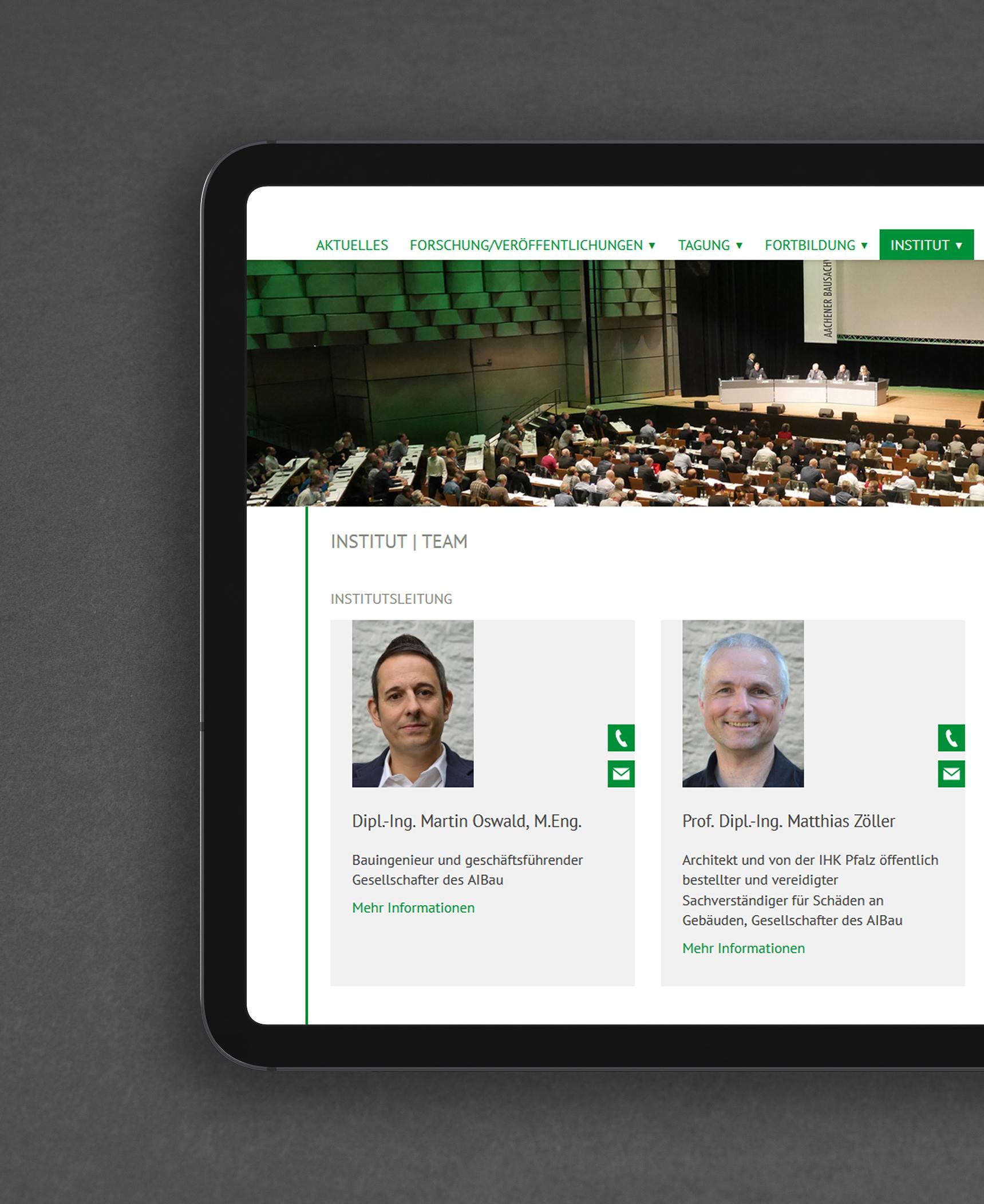 AIBau Aachen Teamseite Webdesign