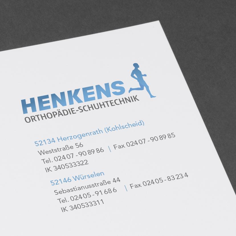 Henkens Orthopädie Schuhtechnik Corporate Design Aachen