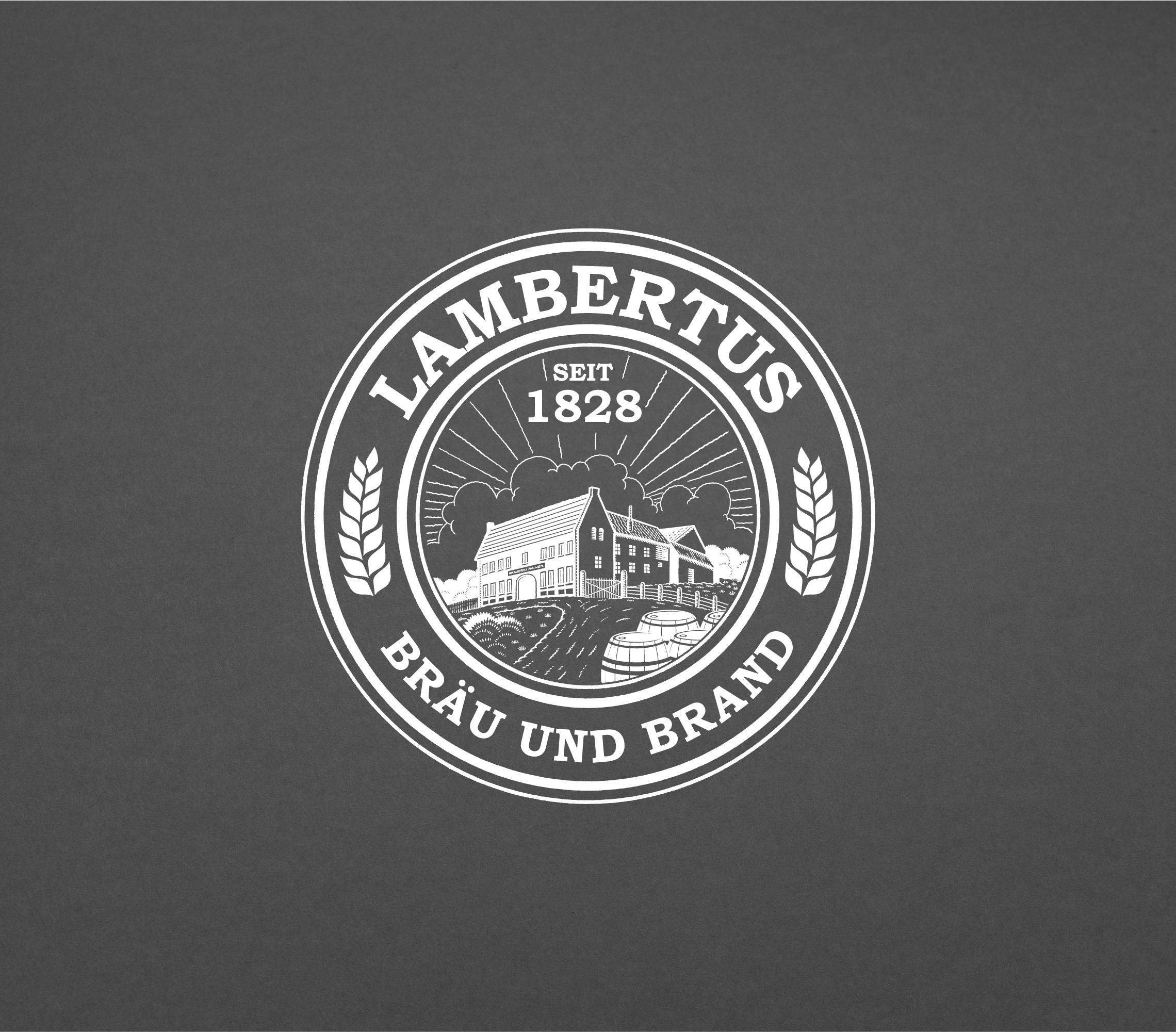 Lambertus Bräu & Brand Logo - weiß auf schwarzem Hintergrund